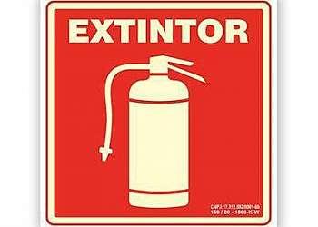 Placa sinalização extintor pó químico