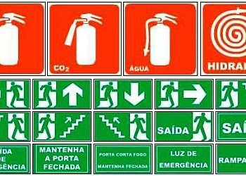 Placas de sinalização contra incêndio